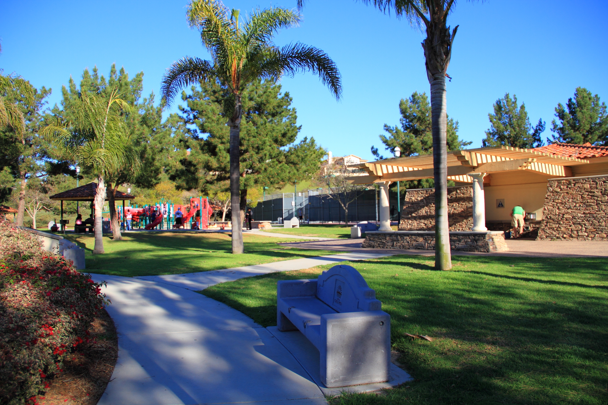 Play area and tennis courts.